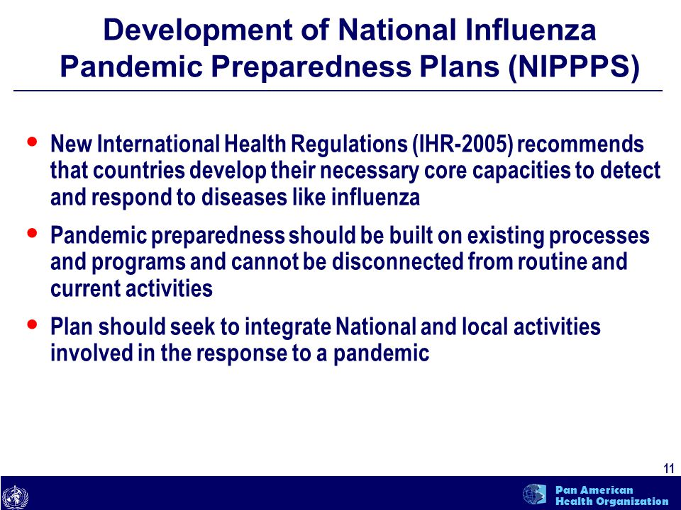text 11 Pan American Health Organization Development of National Influenza Pandemic Preparedness Plans (NIPPPS) New International Health Regulations (IHR-2005) recommends that countries develop their necessary core capacities to detect and respond to diseases like influenza Pandemic preparedness should be built on existing processes and programs and cannot be disconnected from routine and current activities Plan should seek to integrate National and local activities involved in the response to a pandemic
