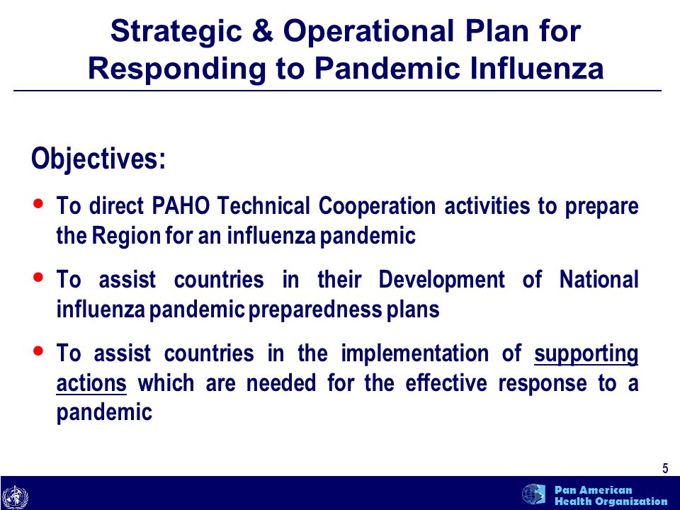 text 5 Pan American Health Organization Strategic & Operational Plan for Responding to Pandemic Influenza Objectives: To direct PAHO Technical Coopera