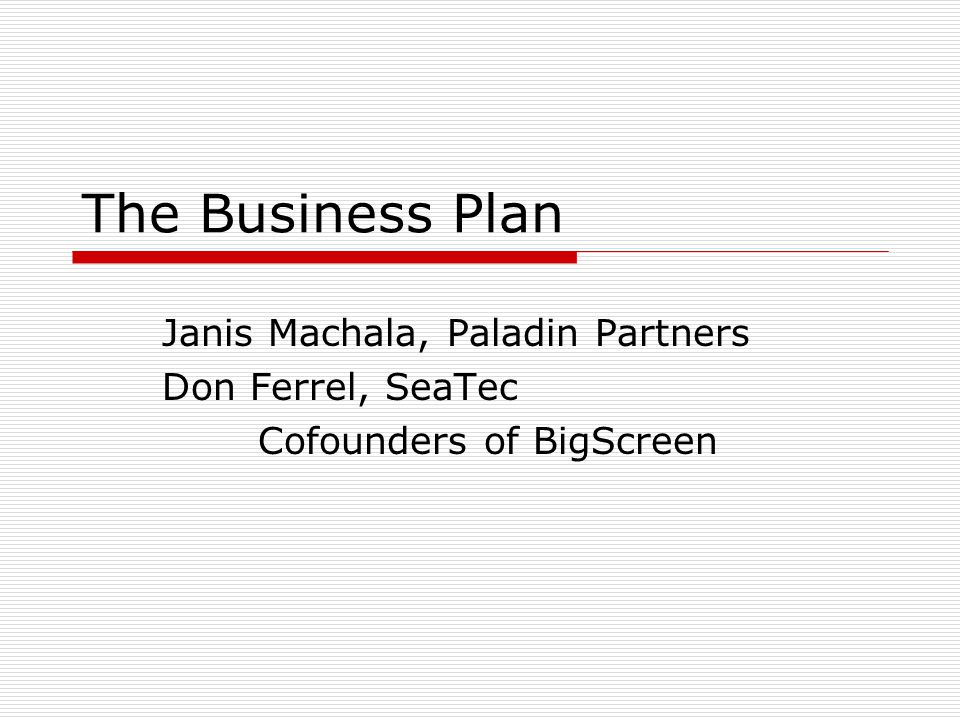 The Business Plan Janis Machala, Paladin Partners Don Ferrel, SeaTec Cofounders of BigScreen