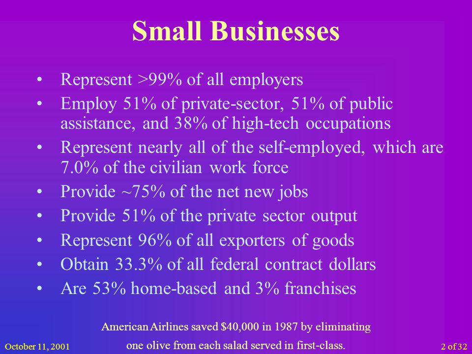 October 11, 200123 of 32 Accounting Keep everything Write all over everything Learn what you must have & do Get and read the IRS 1040 long form Get and read the IRS 1040c (business portion) Little envelopes work great Keep 5 years of data (make it a written policy to destroy old records and DO IT) Over 2,500 left handed people a year are killed from using products made for right handed people.