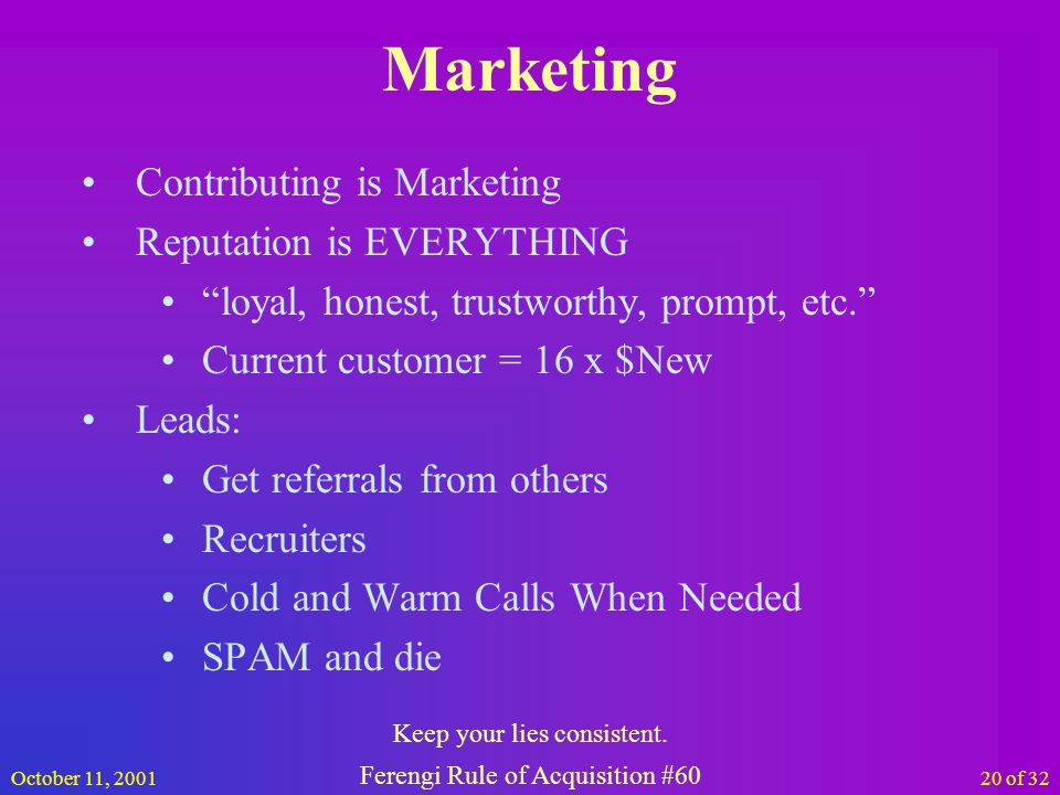 October 11, 200120 of 32 Marketing Contributing is Marketing Reputation is EVERYTHING loyal, honest, trustworthy, prompt, etc.