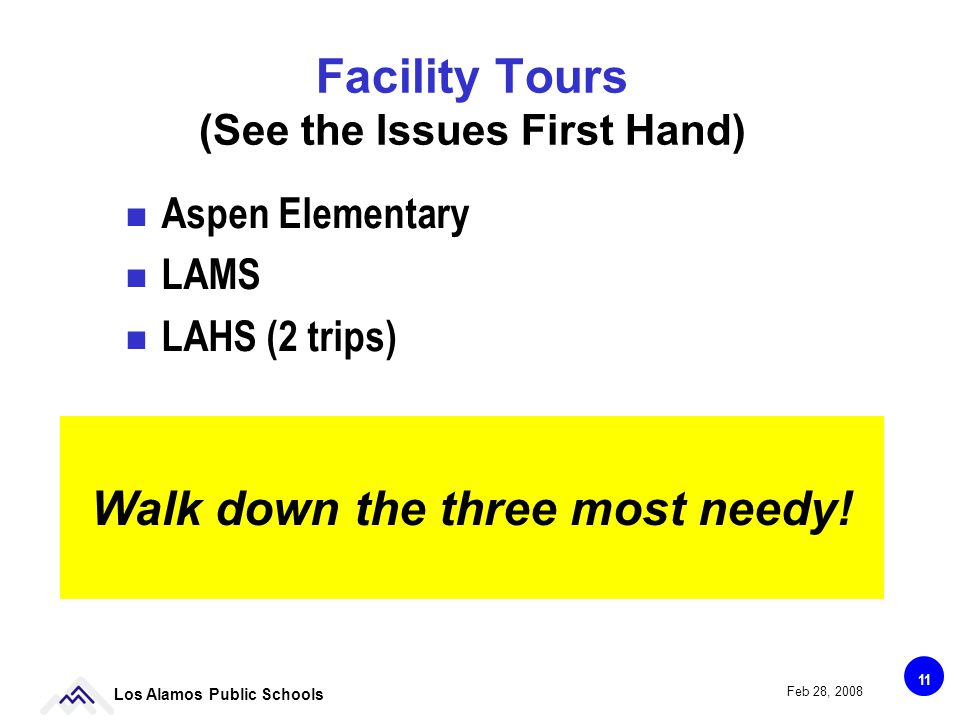 11 Los Alamos Public Schools Feb 28, 2008 Facility Tours (See the Issues First Hand) Aspen Elementary LAMS LAHS (2 trips) Walk down the three most needy!