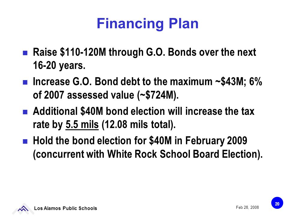 20 Los Alamos Public Schools Feb 28, 2008 Financing Plan Raise $110-120M through G.O.
