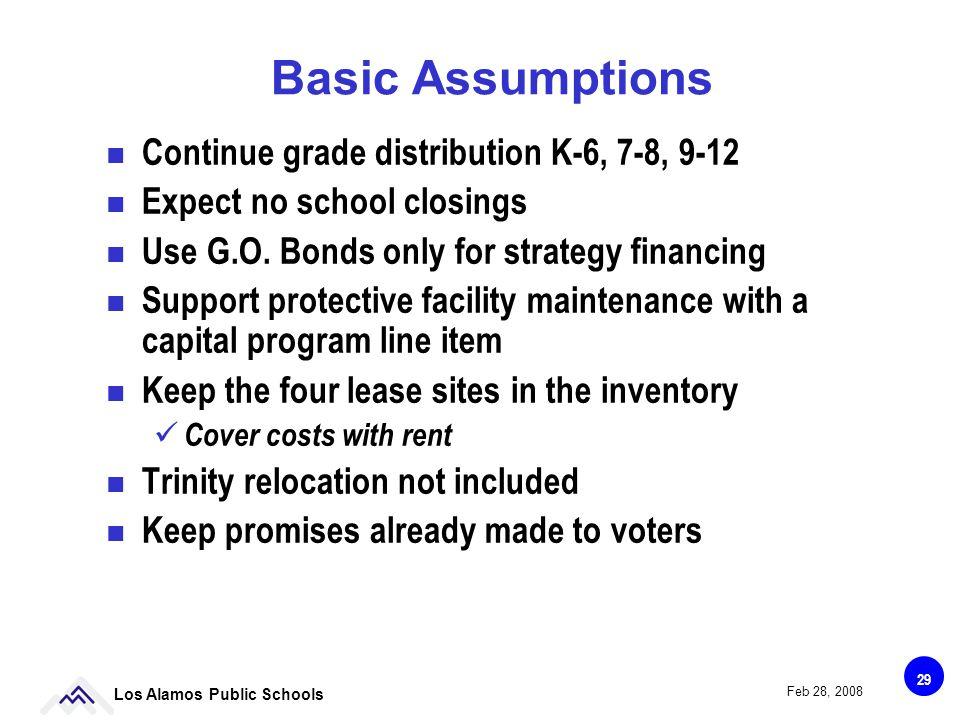 29 Los Alamos Public Schools Feb 28, 2008 Basic Assumptions Continue grade distribution K-6, 7-8, 9-12 Expect no school closings Use G.O.