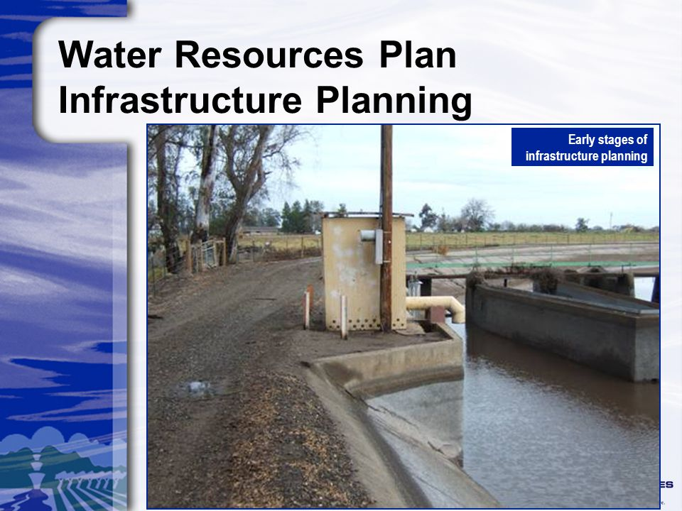 Water Resources Plan Infrastructure Planning Early stages of infrastructure planning