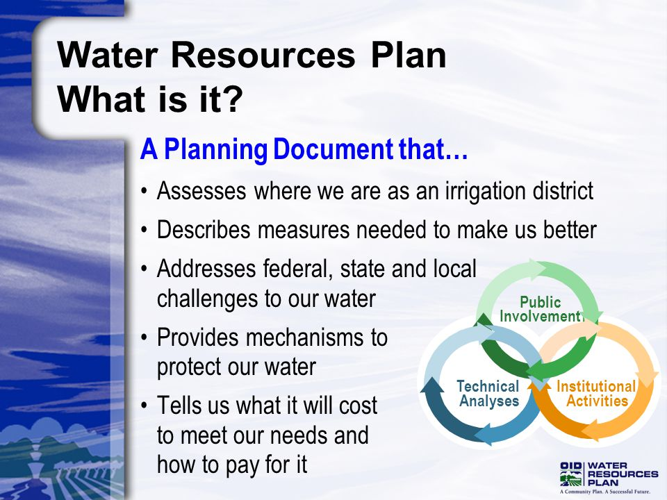 Assesses where we are as an irrigation district Describes measures needed to make us better Addresses federal, state and local challenges to our water Provides mechanisms to protect our water Tells us what it will cost to meet our needs and how to pay for it Water Resources Plan What is it.