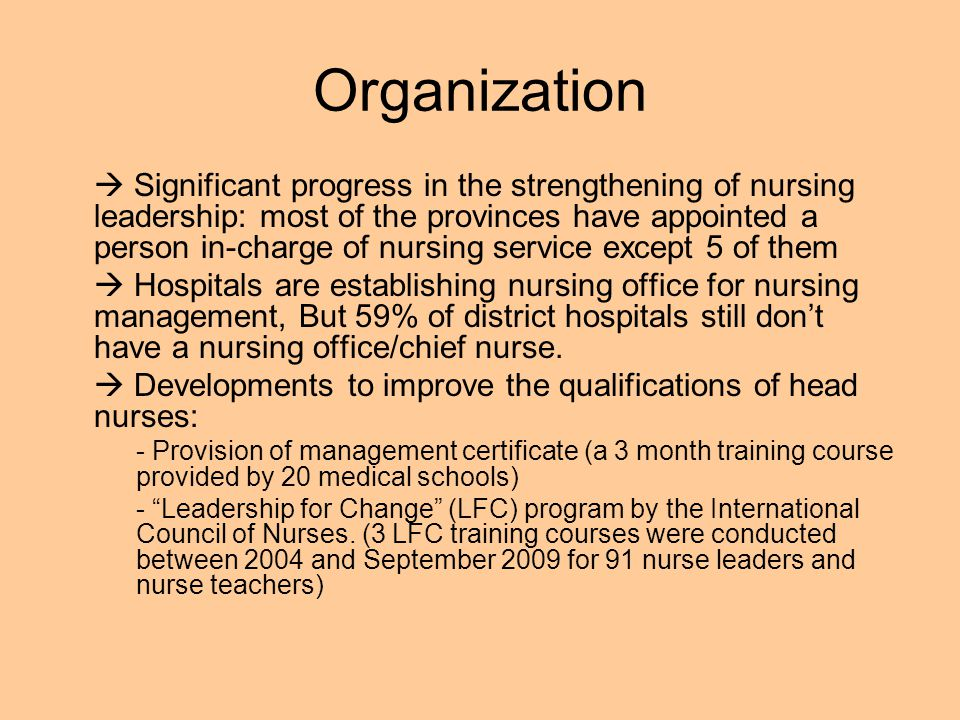 Organization Significant progress in the strengthening of nursing leadership: most of the provinces have appointed a person in-charge of nursing servi