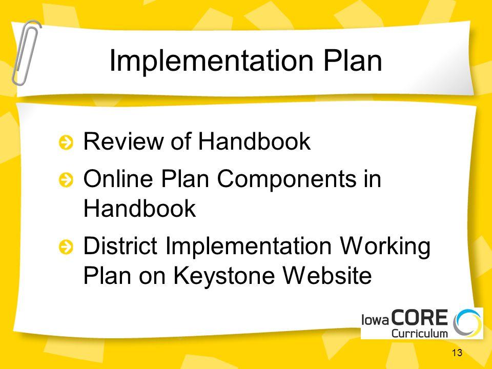Implementation Plan Review of Handbook Online Plan Components in Handbook District Implementation Working Plan on Keystone Website 13