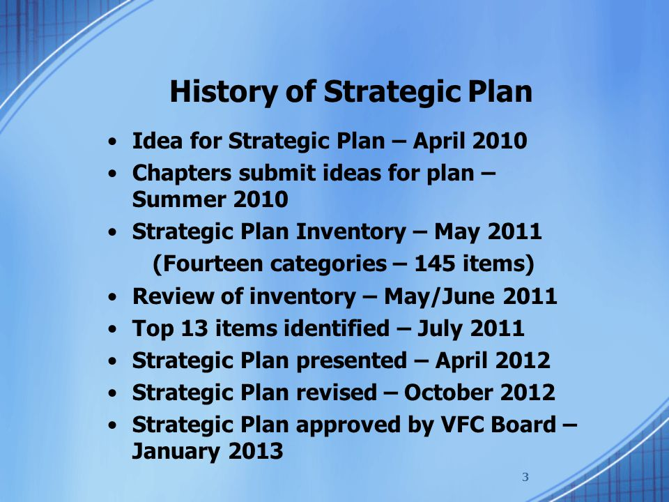 Idea for Strategic Plan – April 2010 Chapters submit ideas for plan – Summer 2010 Strategic Plan Inventory – May 2011 (Fourteen categories – 145 items) Review of inventory – May/June 2011 Top 13 items identified – July 2011 Strategic Plan presented – April 2012 Strategic Plan revised – October 2012 Strategic Plan approved by VFC Board – January 2013 ADMINISTRATION & OPERATIONS Communications with chapters and area VPs needs to be improved Need better description of VFC officers responsibilities Consolidated listing of chapter officers and contact information Committee to review and update VFC bylaws Committee to review and update VFC policies and procedures Review Area VP boundaries with a view of cutting down travel Create Area VP jurisdictions to coincide with VAs 11 Congressional Districts Institute a Civility Code of Conduct for all meetings and interactions Too much emphasis on raising money, should only focus on dues, NARFE PAC, and VA PAC Monitor chapters (develop indicators of a strong chapter) No contests for raising money More effective help for at risk chapters Article on what has NARFE done for you lately Permit Chapters to merge rather than close Strive for stability and continuity in the State Board (Officers and Committees), i.e.; Membership, Alzheimers, Public Relations enabling Chapters to get the help they need.