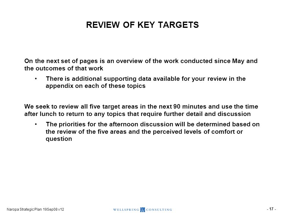 Naropa Strategic Plan 19Sep08 v12 - 17 - REVIEW OF KEY TARGETS On the next set of pages is an overview of the work conducted since May and the outcome