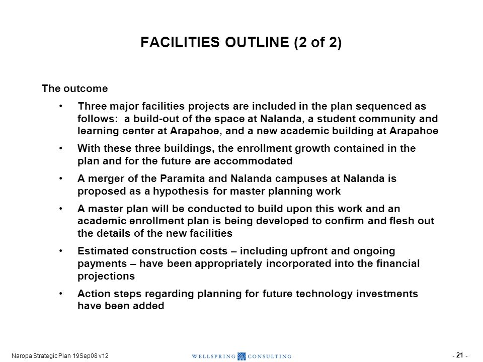 Naropa Strategic Plan 19Sep08 v12 - 21 - FACILITIES OUTLINE (2 of 2) The outcome Three major facilities projects are included in the plan sequenced as