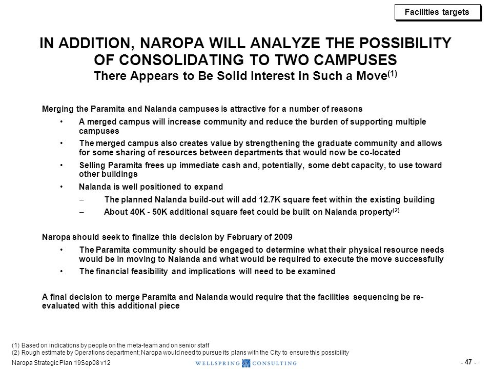 Naropa Strategic Plan 19Sep08 v12 - 47 - IN ADDITION, NAROPA WILL ANALYZE THE POSSIBILITY OF CONSOLIDATING TO TWO CAMPUSES There Appears to Be Solid I