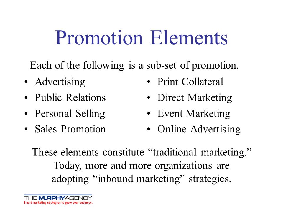 Promotion Elements Advertising Public Relations Personal Selling Sales Promotion Print Collateral Direct Marketing Event Marketing Online Advertising