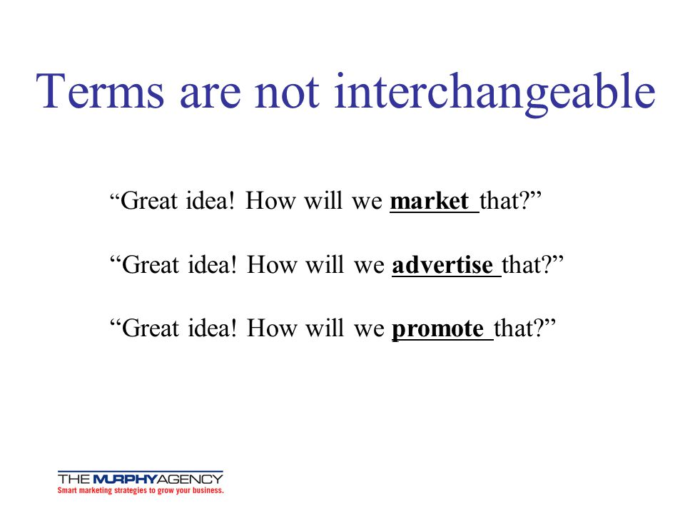 Terms are not interchangeable Great idea.How will we market that.