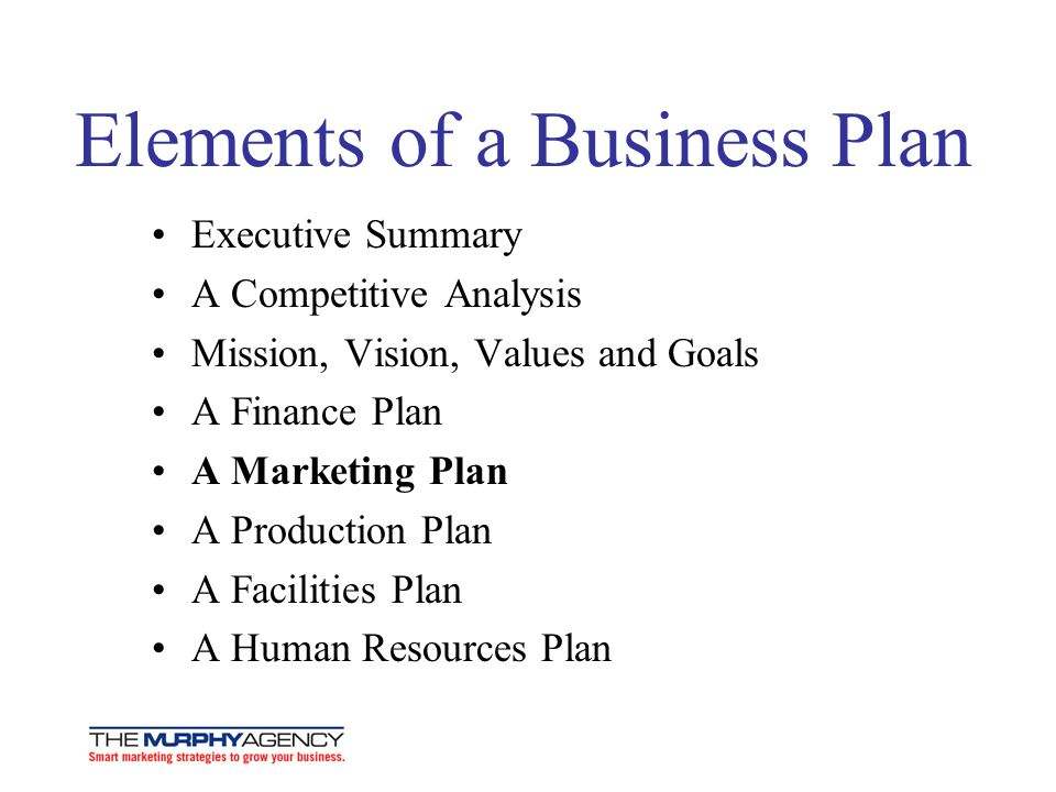 Elements of a Business Plan Executive Summary A Competitive Analysis Mission, Vision, Values and Goals A Finance Plan A Marketing Plan A Production Plan A Facilities Plan A Human Resources Plan