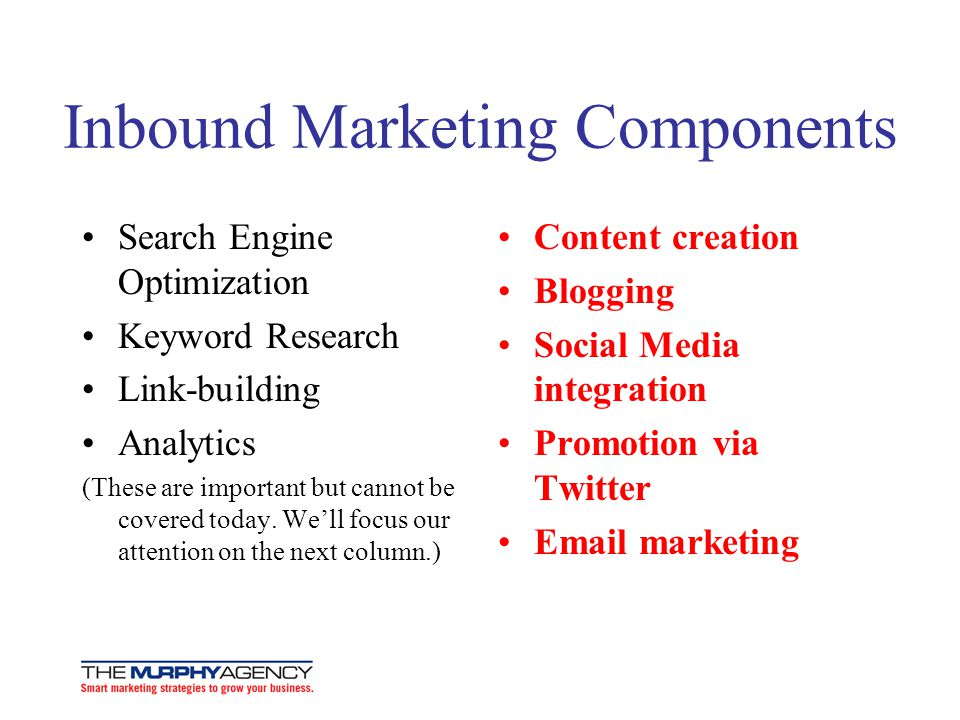 Inbound Marketing Components Search Engine Optimization Keyword Research Link-building Analytics (These are important but cannot be covered today.