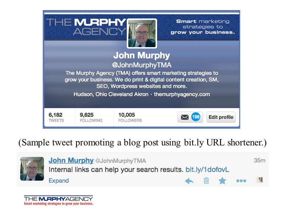 (Sample tweet promoting a blog post using bit.ly URL shortener.)