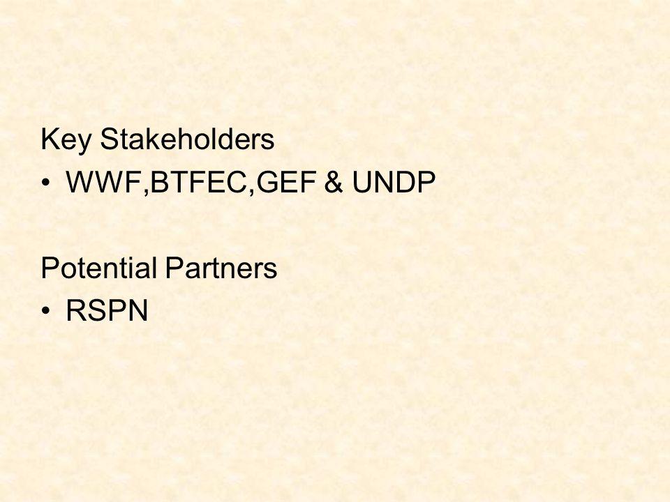 Key Stakeholders WWF,BTFEC,GEF & UNDP Potential Partners RSPN