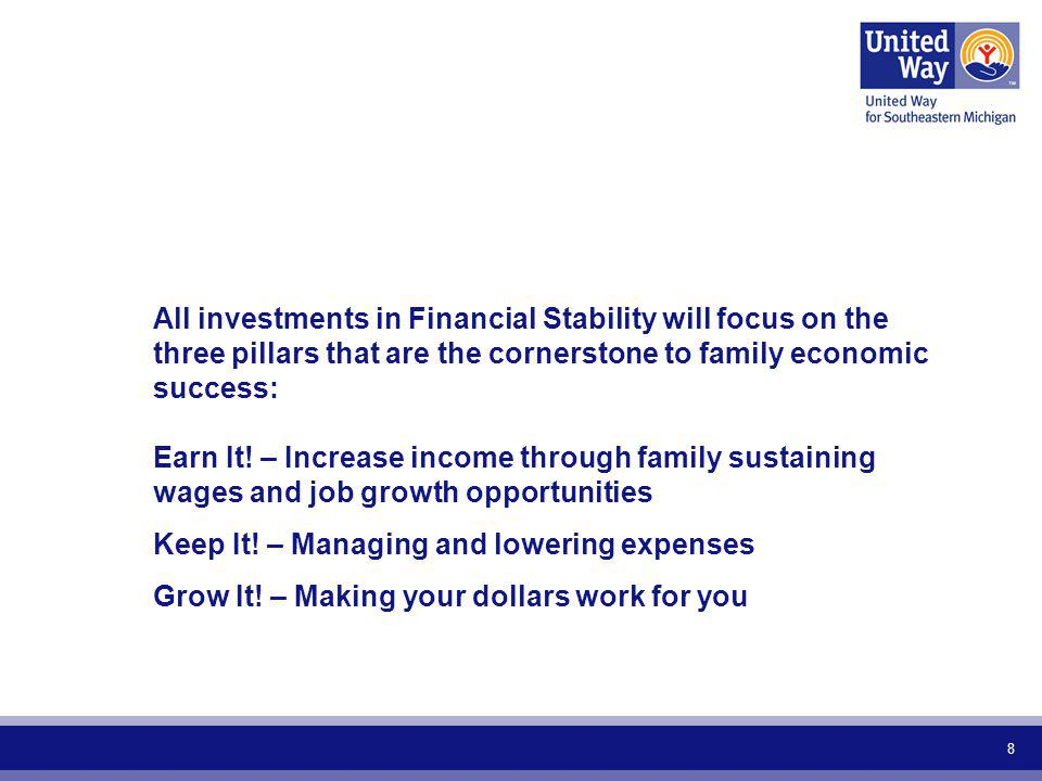 8 All investments in Financial Stability will focus on the three pillars that are the cornerstone to family economic success: Earn It! – Increase inco