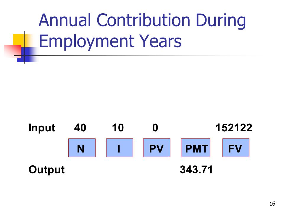 16 N I PV PMT FV Input40 10 0 152122 Output 343.71 Annual Contribution During Employment Years