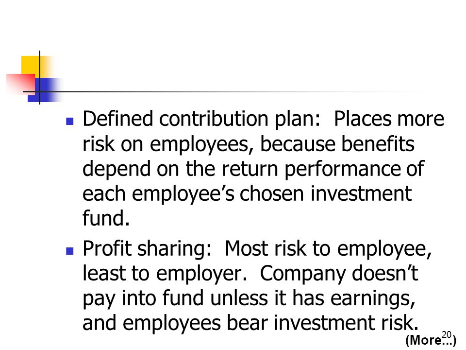 20 Defined contribution plan: Places more risk on employees, because benefits depend on the return performance of each employees chosen investment fund.