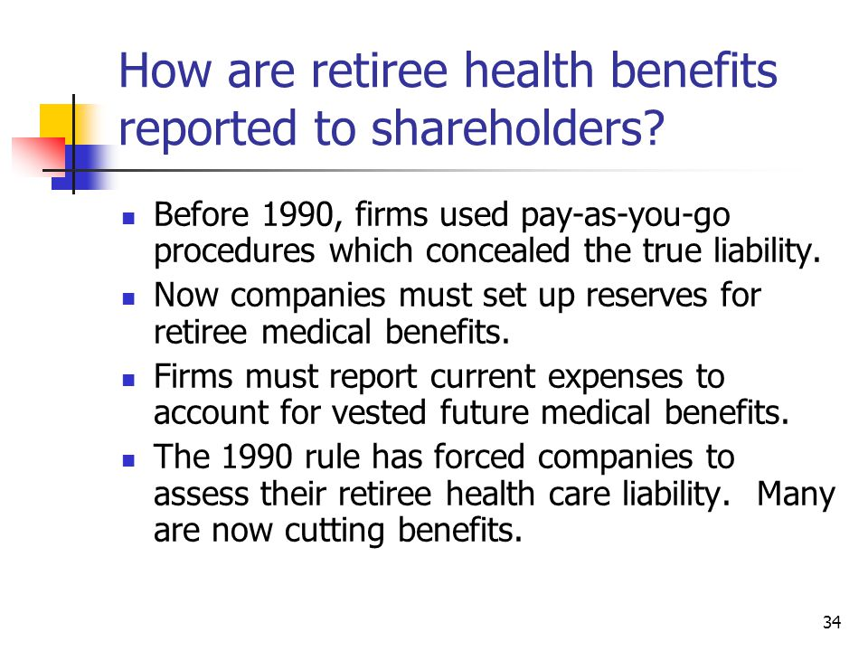 34 How are retiree health benefits reported to shareholders? Before 1990, firms used pay-as-you-go procedures which concealed the true liability. Now