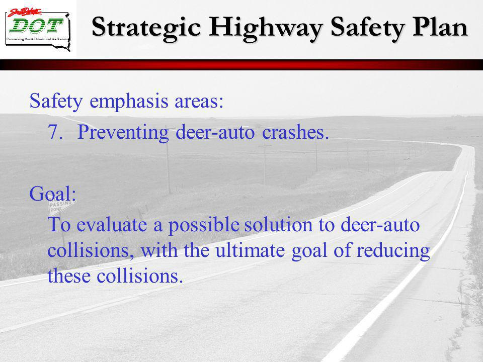 Strategic Highway Safety Plan Connecting South Dakota and the Nation Safety emphasis areas: 7.Preventing deer-auto crashes. Goal: To evaluate a possib
