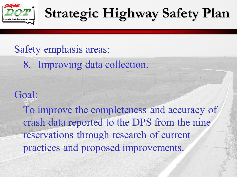 Strategic Highway Safety Plan Connecting South Dakota and the Nation Safety emphasis areas: 8.Improving data collection. Goal: To improve the complete