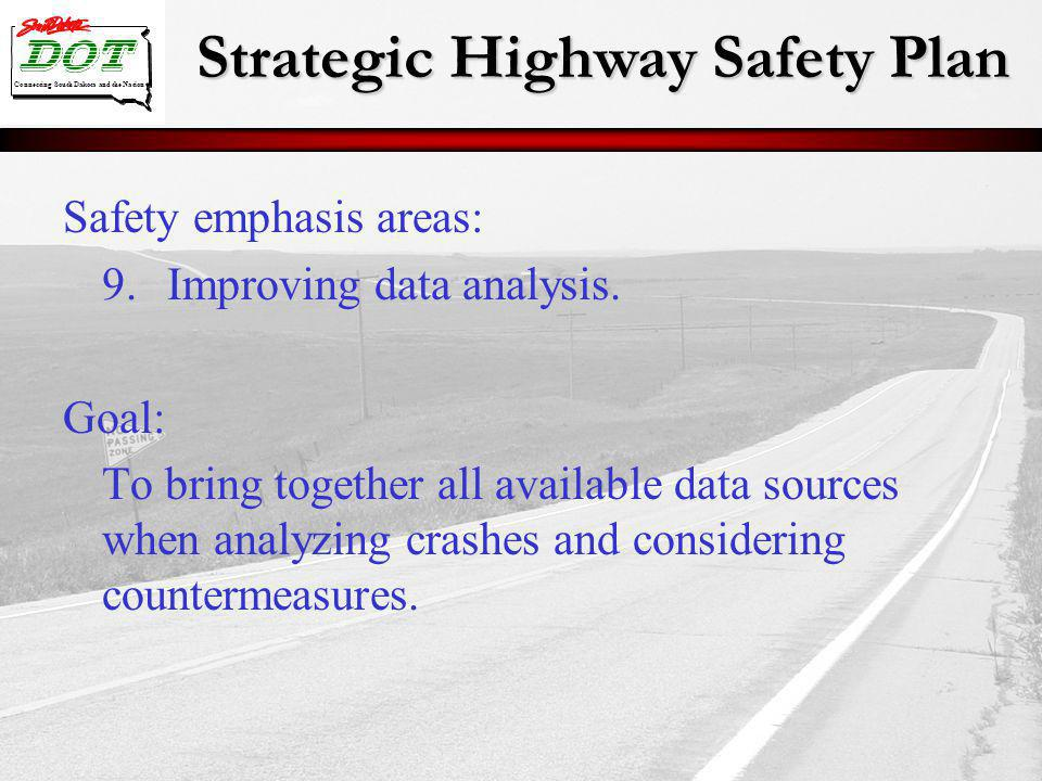Strategic Highway Safety Plan Connecting South Dakota and the Nation Safety emphasis areas: 9.Improving data analysis.