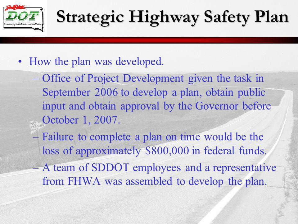 Strategic Highway Safety Plan Connecting South Dakota and the Nation How the plan was developed. –Office of Project Development given the task in Sept