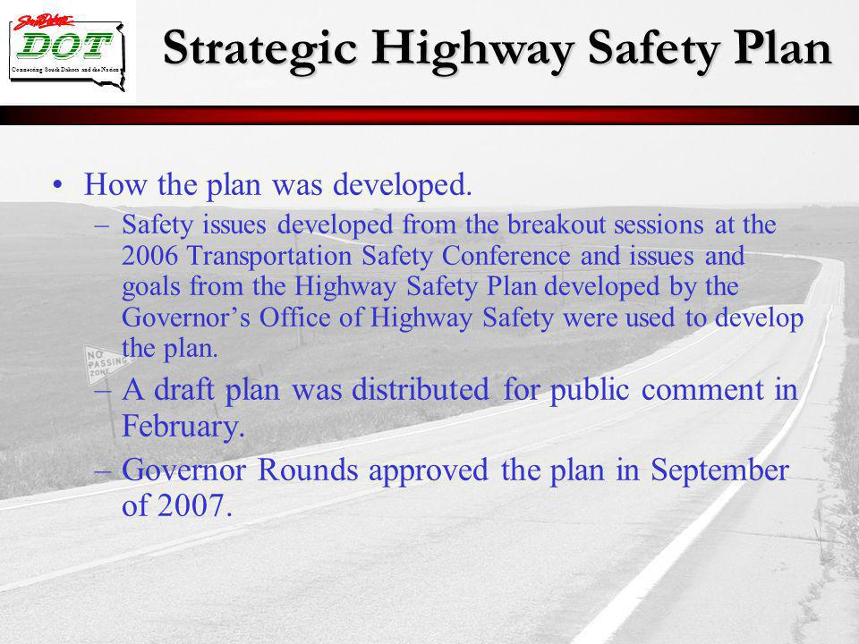 Strategic Highway Safety Plan Connecting South Dakota and the Nation How the plan was developed. –Safety issues developed from the breakout sessions a