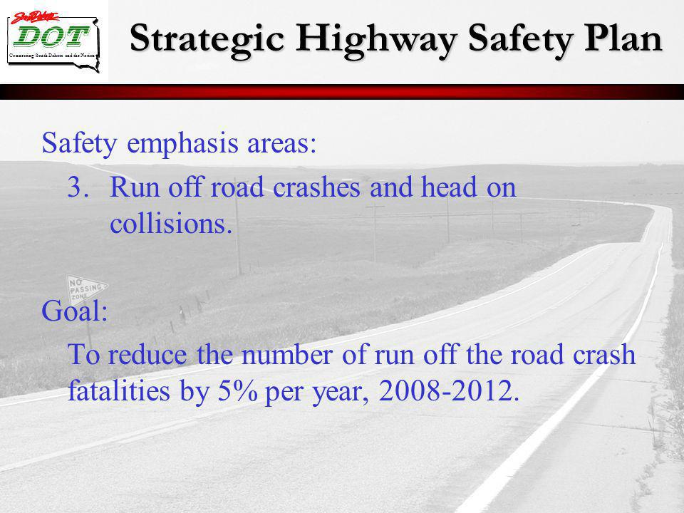 Strategic Highway Safety Plan Connecting South Dakota and the Nation Safety emphasis areas: 3.Run off road crashes and head on collisions. Goal: To re