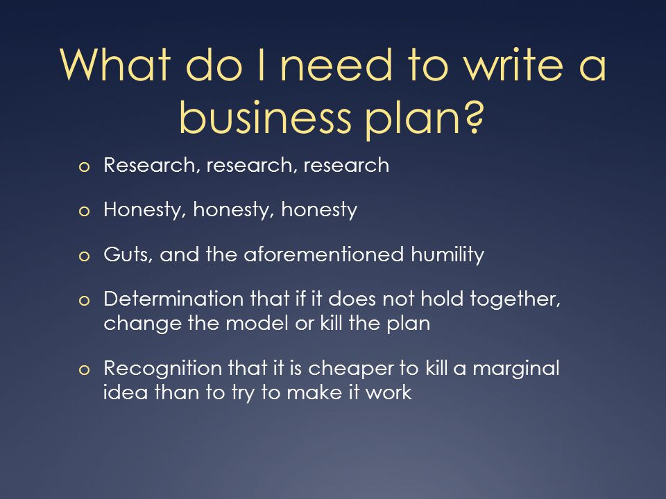 What do I need to write a business plan.