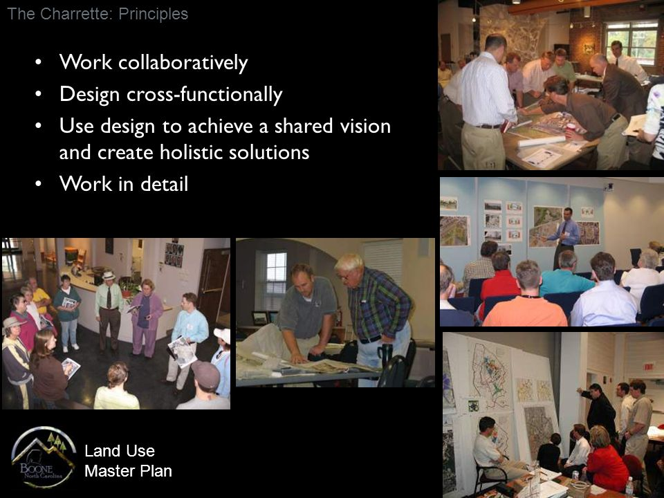 Land Use Master Plan Work collaboratively Design cross-functionally Use design to achieve a shared vision and create holistic solutions Work in detail The Charrette: Principles