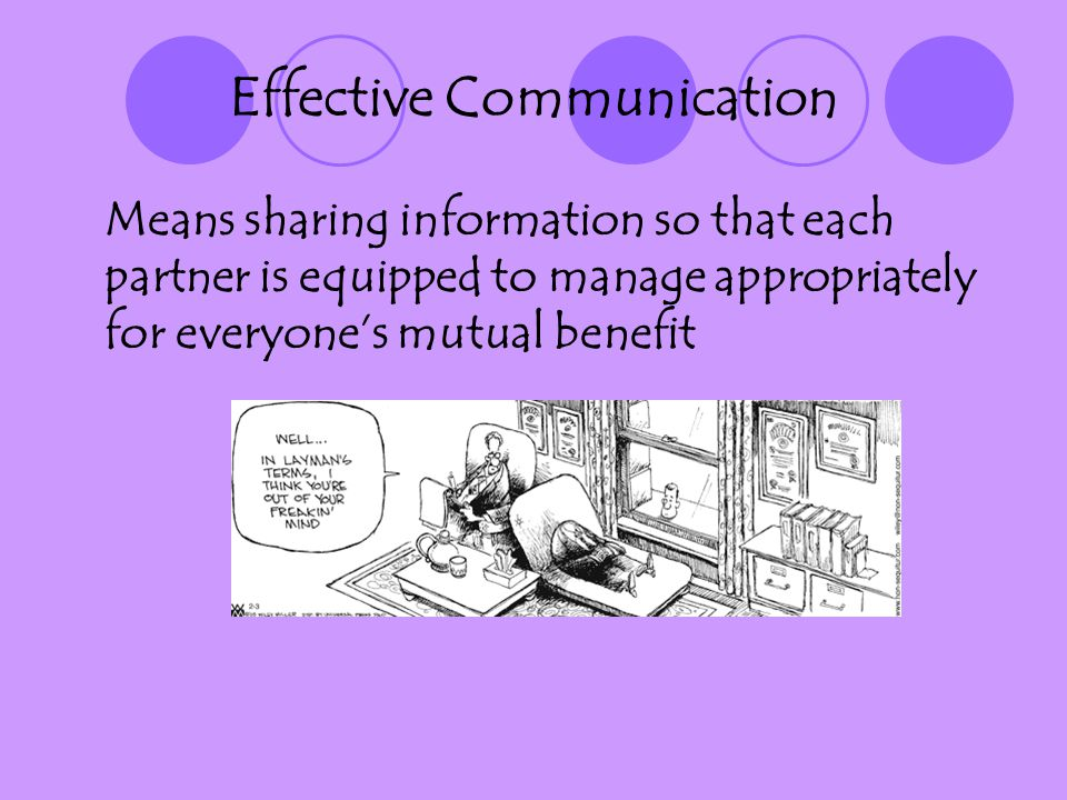 Effective Communication Means sharing information so that each partner is equipped to manage appropriately for everyones mutual benefit