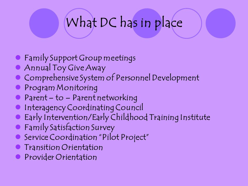 What DC has in place Family Support Group meetings Annual Toy Give Away Comprehensive System of Personnel Development Program Monitoring Parent – to – Parent networking Interagency Coordinating Council Early Intervention/Early Childhood Training Institute Family Satisfaction Survey Service Coordination Pilot Project Transition Orientation Provider Orientation
