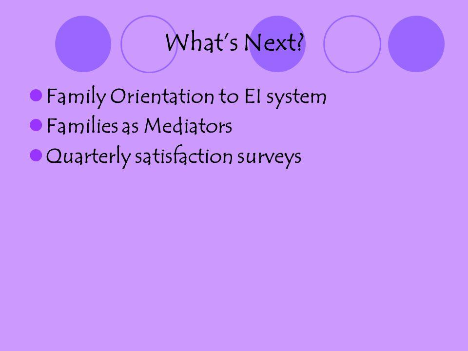 Whats Next? Family Orientation to EI system Families as Mediators Quarterly satisfaction surveys