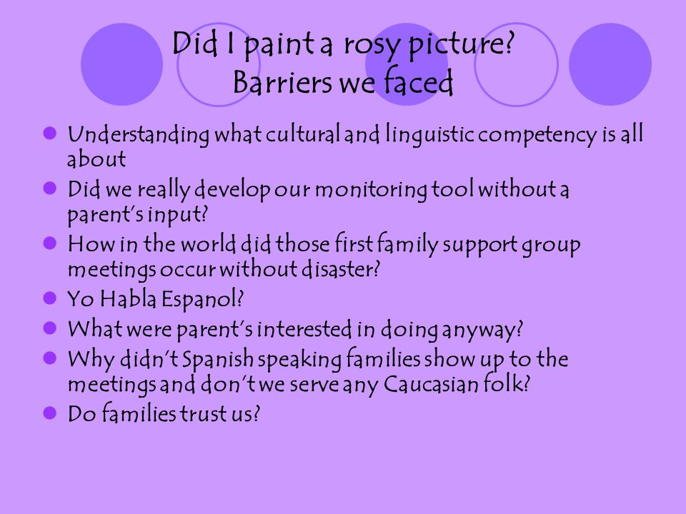 Did I paint a rosy picture? Barriers we faced Understanding what cultural and linguistic competency is all about Did we really develop our monitoring