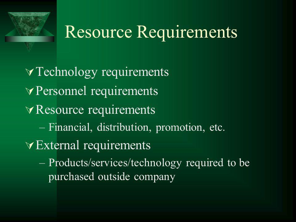 Resource Requirements Technology requirements Personnel requirements Resource requirements –Financial, distribution, promotion, etc. External requirem