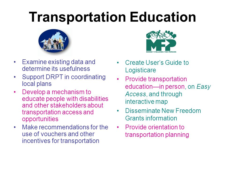 Transportation Education Examine existing data and determine its usefulness Support DRPT in coordinating local plans Develop a mechanism to educate people with disabilities and other stakeholders about transportation access and opportunities Make recommendations for the use of vouchers and other incentives for transportation Create Users Guide to Logisticare Provide transportation educationin person, on Easy Access, and through interactive map Disseminate New Freedom Grants information Provide orientation to transportation planning
