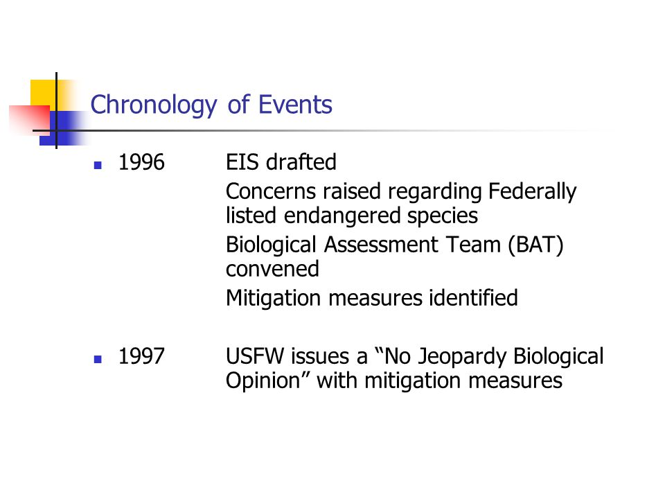Chronology of Events 1996EIS drafted Concerns raised regarding Federally listed endangered species Biological Assessment Team (BAT) convened Mitigatio