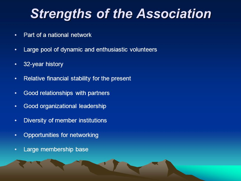 Strengths of the Association Part of a national network Large pool of dynamic and enthusiastic volunteers 32-year history Relative financial stability for the present Good relationships with partners Good organizational leadership Diversity of member institutions Opportunities for networking Large membership base