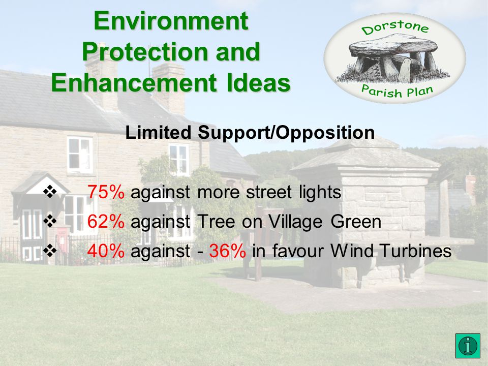 Environment Protection and Enhancement Ideas Limited Support/Opposition 75% against more street lights 62% against Tree on Village Green 40% against - 36% in favour Wind Turbines