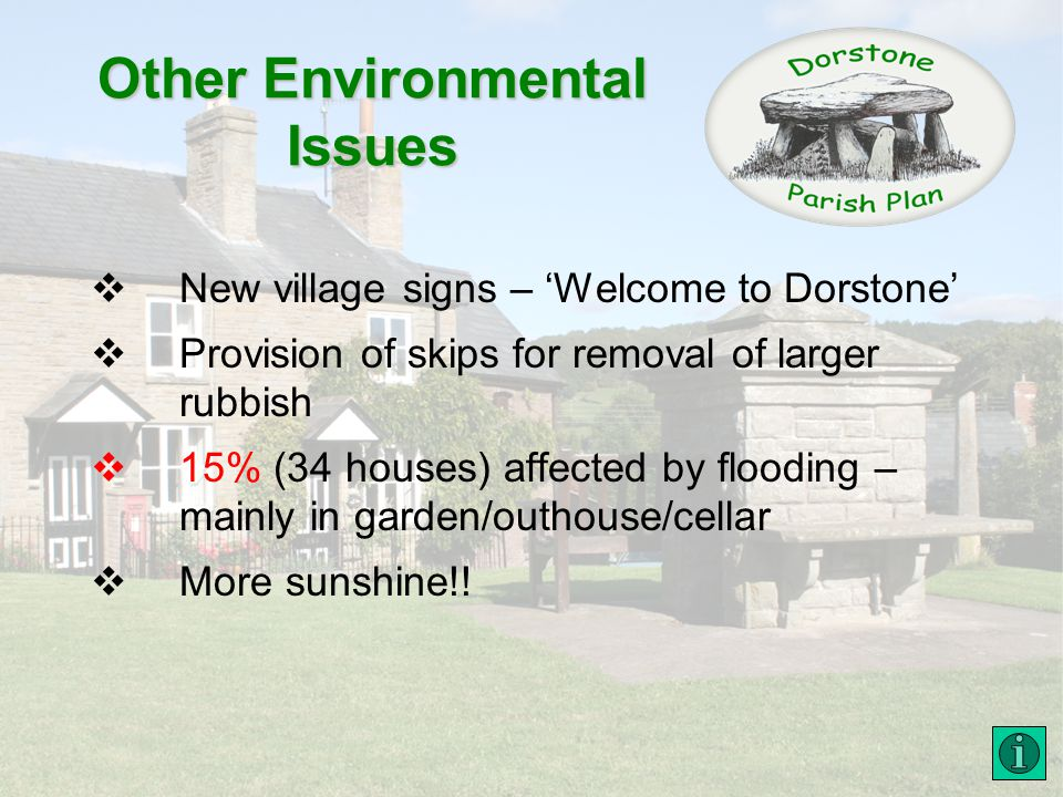 Other Environmental Issues New village signs – Welcome to Dorstone Provision of skips for removal of larger rubbish 15% (34 houses) affected by flooding – mainly in garden/outhouse/cellar More sunshine!!