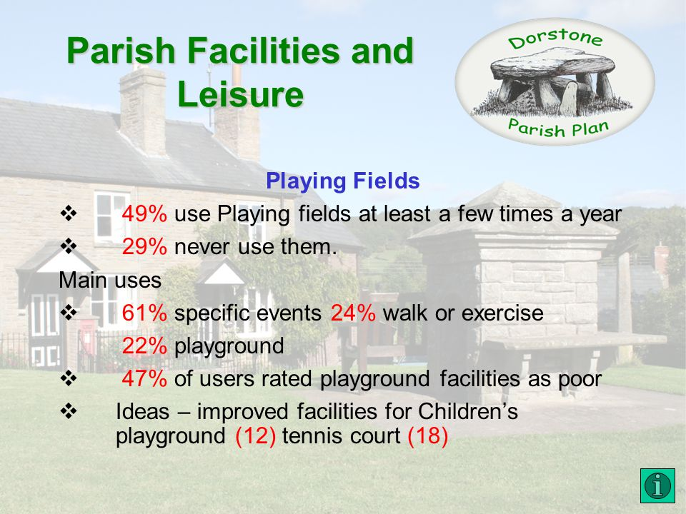 Parish Facilities and Leisure Playing Fields 49% use Playing fields at least a few times a year 29% never use them.
