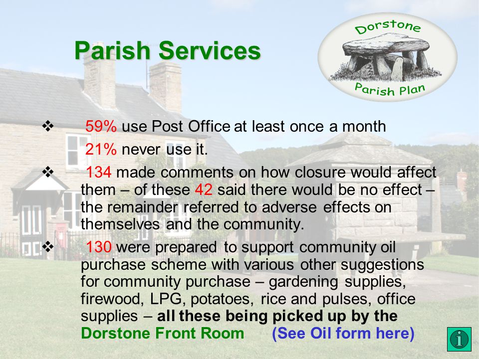Parish Services 59% use Post Office at least once a month 21% never use it.