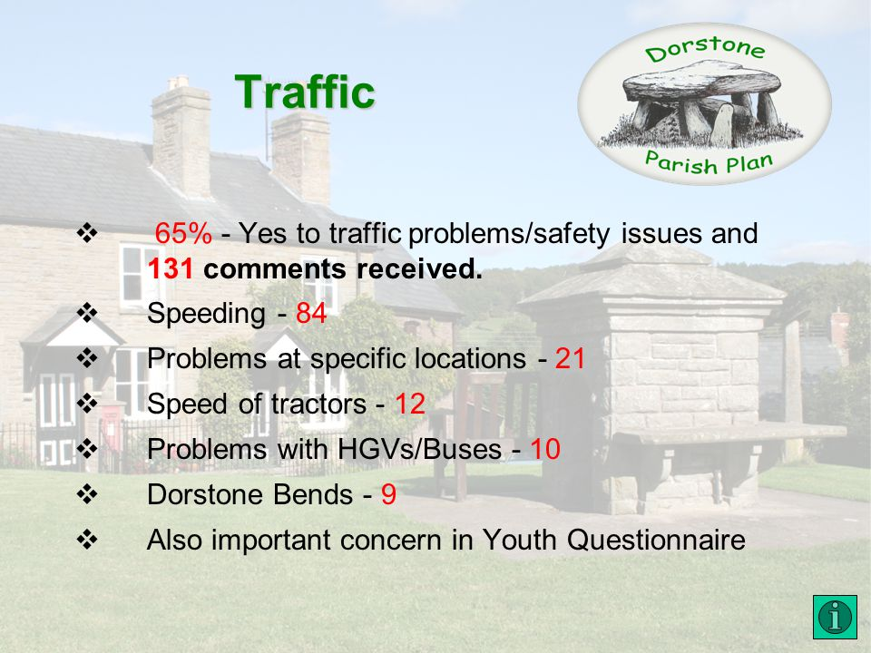 Traffic 65% - Yes to traffic problems/safety issues and 131 comments received.