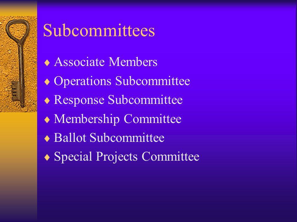 Subcommittees Associate Members Operations Subcommittee Response Subcommittee Membership Committee Ballot Subcommittee Special Projects Committee