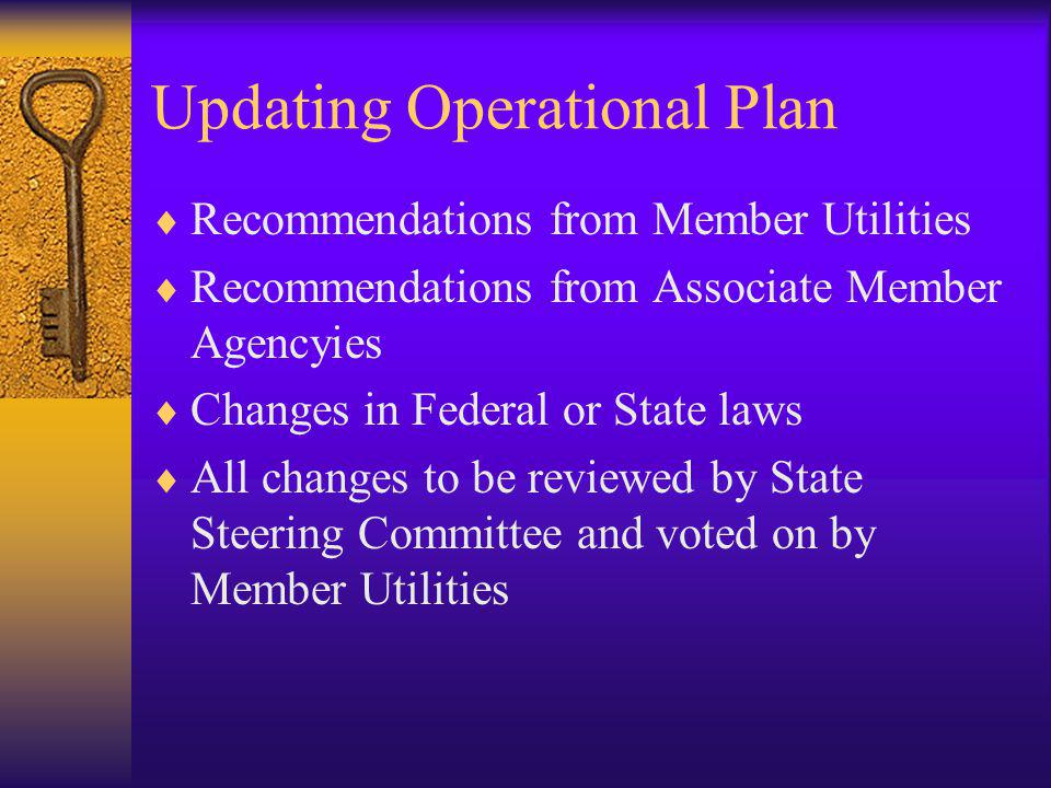 Updating Operational Plan Recommendations from Member Utilities Recommendations from Associate Member Agencyies Changes in Federal or State laws All c