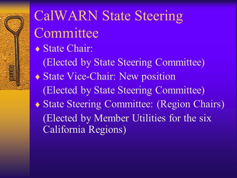 CalWARN State Steering Committee State Chair: (Elected by State Steering Committee) State Vice-Chair: New position (Elected by State Steering Committee) State Steering Committee: (Region Chairs) (Elected by Member Utilities for the six California Regions)